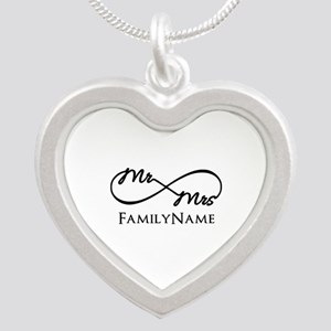 Custom Infinity Mr. and Mrs. Silver Heart Necklace